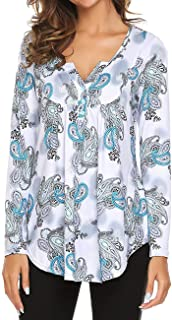 Women's Paisley Printed Long Sleeve Henley V Neck Pleated Casual Flare Tunic Blouse Shirt (A-Multic, XL)