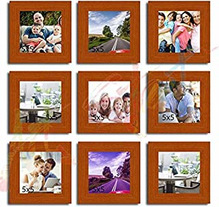 Art Street Square Cover Pure Wood Photo Frame (Brown,Set of 9 Photo Frames)