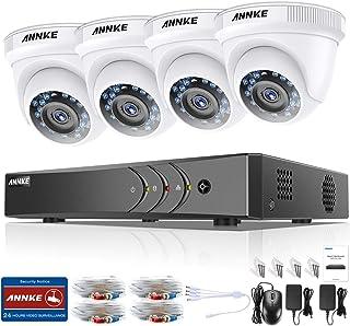 ANNKE Kit Sistema de seguridad 4 Cámaras de vigilancia Luz estelar (Onvif H.265+ 8CH 3MP DVR 5-en-1 y CCTV 4 cámaras 1080P IP66 Impermeable 24 IR LED)-No Disco duro