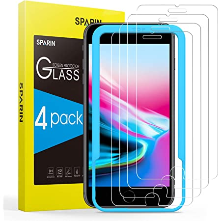 SPARIN 4 Pièces Verre Trempé Compatible avec iPhone SE 2020, iPhone 8, iPhone 7, iPhone 6s et iPhone 6, Film Protection Écran, Vitre Protecteur avec Outil D'alignement Facile