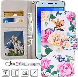 Galaxy J3 Achieve Wallet Case,MagicSky J3 Orbit,J3 Star,J3V 3rd Gen,Amp Prime 3,Express Prime 3,Sol 3 PU Leather Folio Flip Case Cover w/Card Holder,Kickstand for Samsung J3 2018-Flower