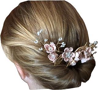 Pasador pelo flores color rosa palido con hojas y perlas