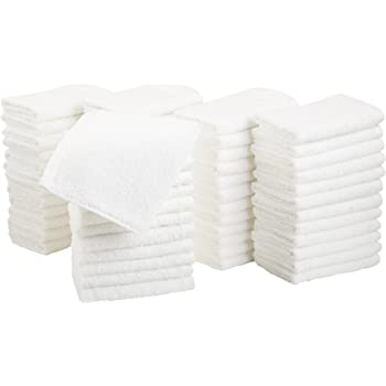 AmazonBasics Fast Drying, Extra Absorbent, Terry Cotton Washcloths, White - Pack of 60