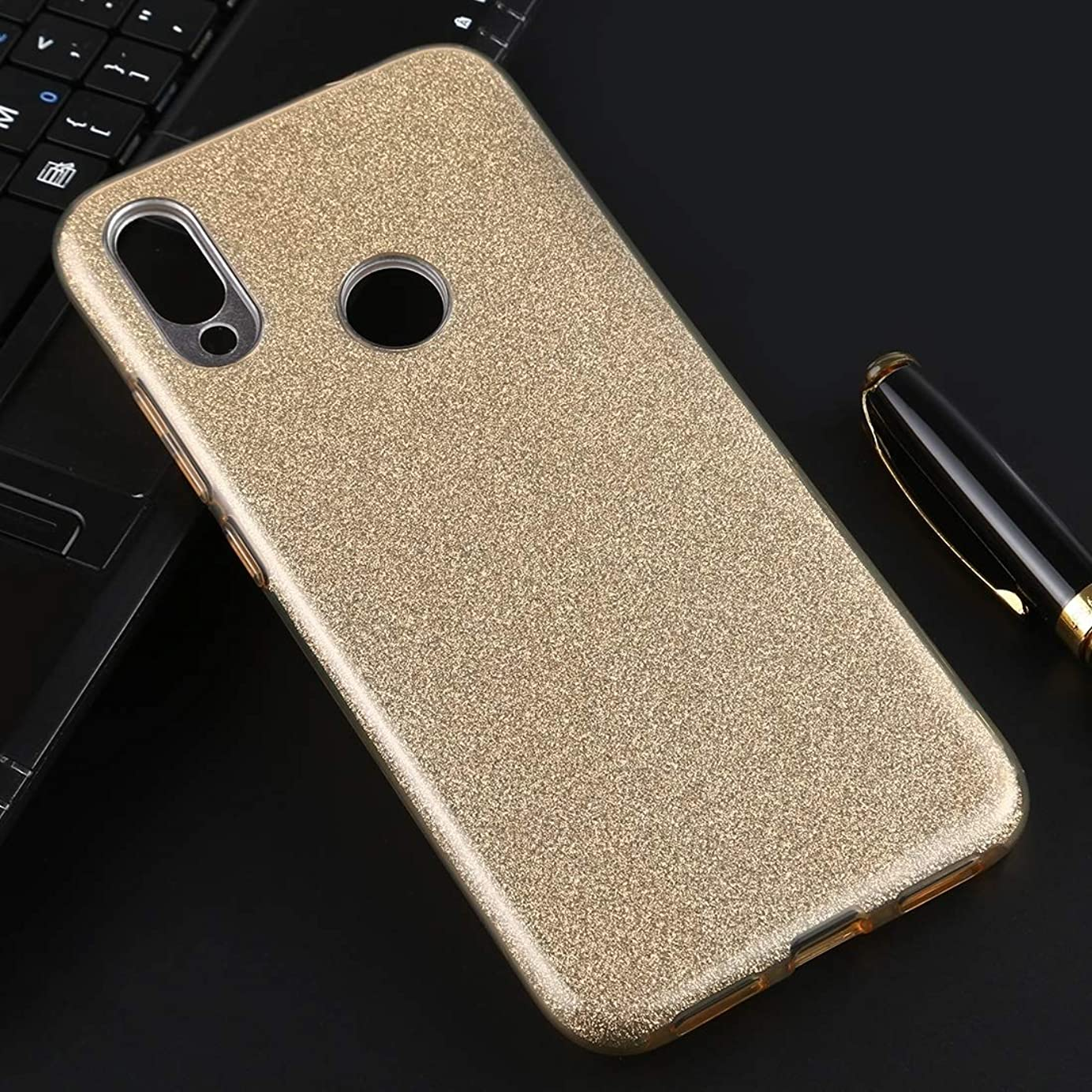 真剣にびっくりした商品小米科技Redmi注7フルカバレッジTPU + PCキラキラパウダーの保護バックケース用 brand:TONWIN (Color : Gold)