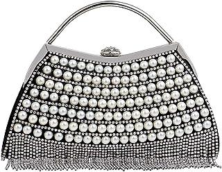 FengheYQ Women's Fashion Banquet Bag Crystal Rhinestone Evening Dress Bag Ladies Pearl Handbag Shoulder Clutch Bag Size: 23.5 * 5.5 * 17.5cm (Color : Black)