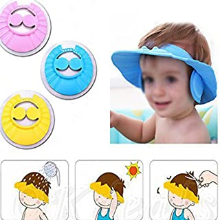 Xanadu New Adjustable Safe Soft Bathing Baby Shower Cap Wash Hair For Children Baby Eye Ear Protector Adjustable Leaves Shape Bathing Shower/Shamoo Cap Hat Pack of 1 baby shower cap