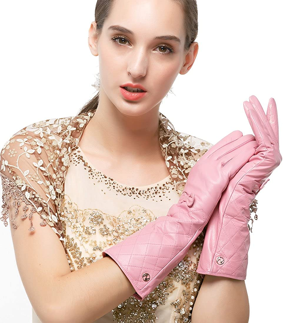Nappaglo Women's Winter Long Leather Gloves Genuine Nappa Leather Touchscreen Quilted Bow Party Mittens