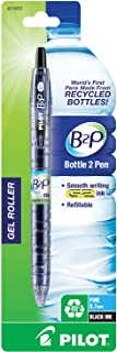 Pilot Bottle 2 Pen (B2P) - Retractable Premium Gel Roller Pens Made from Recycled Bottles: Single Pen, Fine Point Black (31603) Compatible with Pilot G2 Refill Cartridges, Comfortable Grip