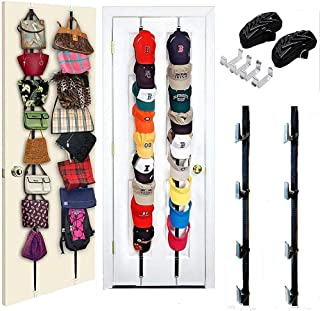 Bidiri Hat Rack Organizer Hanger Storage - Baseball Cap Hang up Organizer, Cap Rack Organizer, Baseball Cap Holder, Bag Rack Organizer for Door, Wall, or Closet (Black)