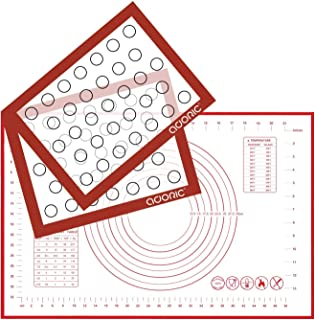 Silicone Baking Mats Pastry Mat, Adoric 2Pack Non-stick Baking Mat and 1Pack 16x24 Inch Silicone Pastry Mat with Measurement Fondant Mat, Counter Mat, Dough Rolling Mat, Oven Liner, Pie Crust Mat