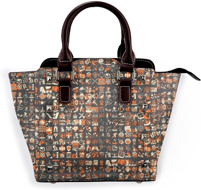 AYTOYY Team Fortress Fashion Pu Shoulder Bag Multi Leather online shopping Financial sales sale Rivet