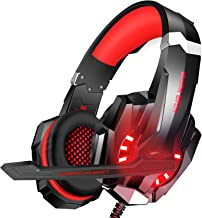 BlueFire 3.5mm Gaming Headset for Playstation 4 PS4 Xbox One Games Tablet Laptop, Over Ear Headphone with Microphone LED Light for Laptop Mac Nintendo Switch Controller (Red)