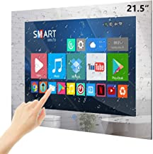 Haocrown 21.5-inch TouchScreen Waterproof Smart Mirror TV for Bathroom Full-HD LED TV with Android 9.0 System Shower Television with Built-in HDTV(ATSC) Wi-Fi Bluetooth Waterproof Speakers(2021 Model)