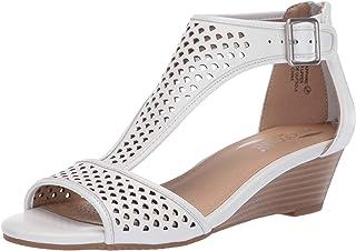 Aerosoles Women's Sapphire Wedge Sandal, White Leather, 10.5 M US