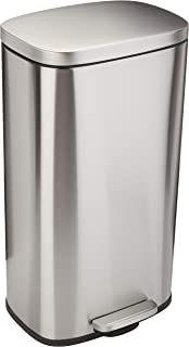 AmazonBasics Rectangle Soft-Close Trash Can - 30L, Satin Nickel