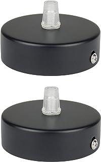 Florón negro | embellecedor para lámpara de techo, suspensor estándar tamaño m10, 80x25 mm | embellecedor para lámpara de techo | incl. pasacables/prisionero para fácil montaje | Buchenbusch Urban Design (2 unidades)