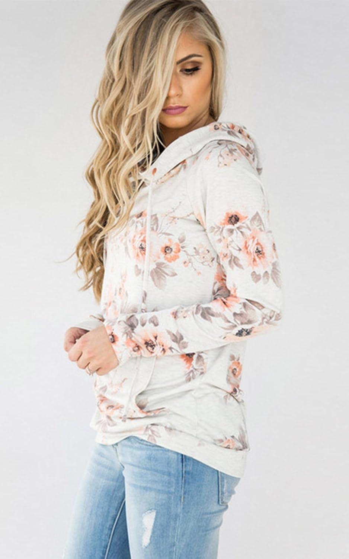 Angashion Damen Hoodies Langarm Kapuzenpullover-Blumenmuster Casual Sweatshirt Pullover Bluse Oberteile 0965 Weiß