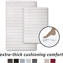 MICRODRY Extra-Thick, SoftLux, Charcoal Infused Memory Foam Bath Mat with GripTex Skid-Resistant Base, 2-Piece Set, White