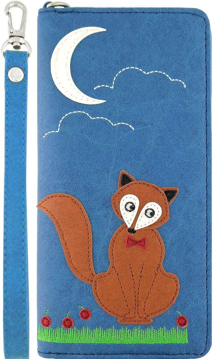 LAVISHY Fox Under The Moon Applique Vegan/Faux Leather Large Wristlet Wallet