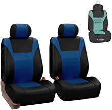 FH Group PU003102 Racing PU Leather Car Pair Set Seat Covers, Airbag Ready and Split, Blue/Black Color - Fit Most Car, Truck, SUV, or Van