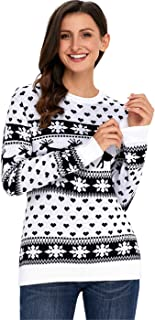 Long Sleeve Festival Christmas Eve Fair Isle Reindeer Snowflake Pullover Sweater Jumper Top