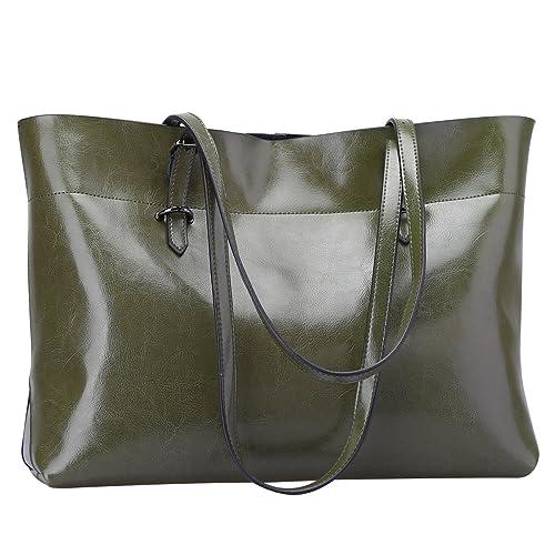 592e037d5644 S-Zone Women's Vintage Genuine Leather Tote Shoulder Bag Handbag (Olive  Green)