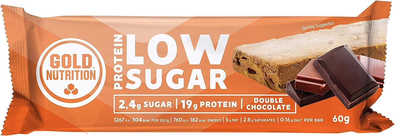 Goldnutrition Total Protein Bar Low Sugar 60g, Chocolate Doble, Paquete de 10 x 60g