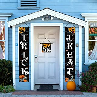 Trick or Treat Halloween Banner Set, 3pcs Colorful Halloween Decorations Outdoor Signs for Home Garden Office Porch Front ...