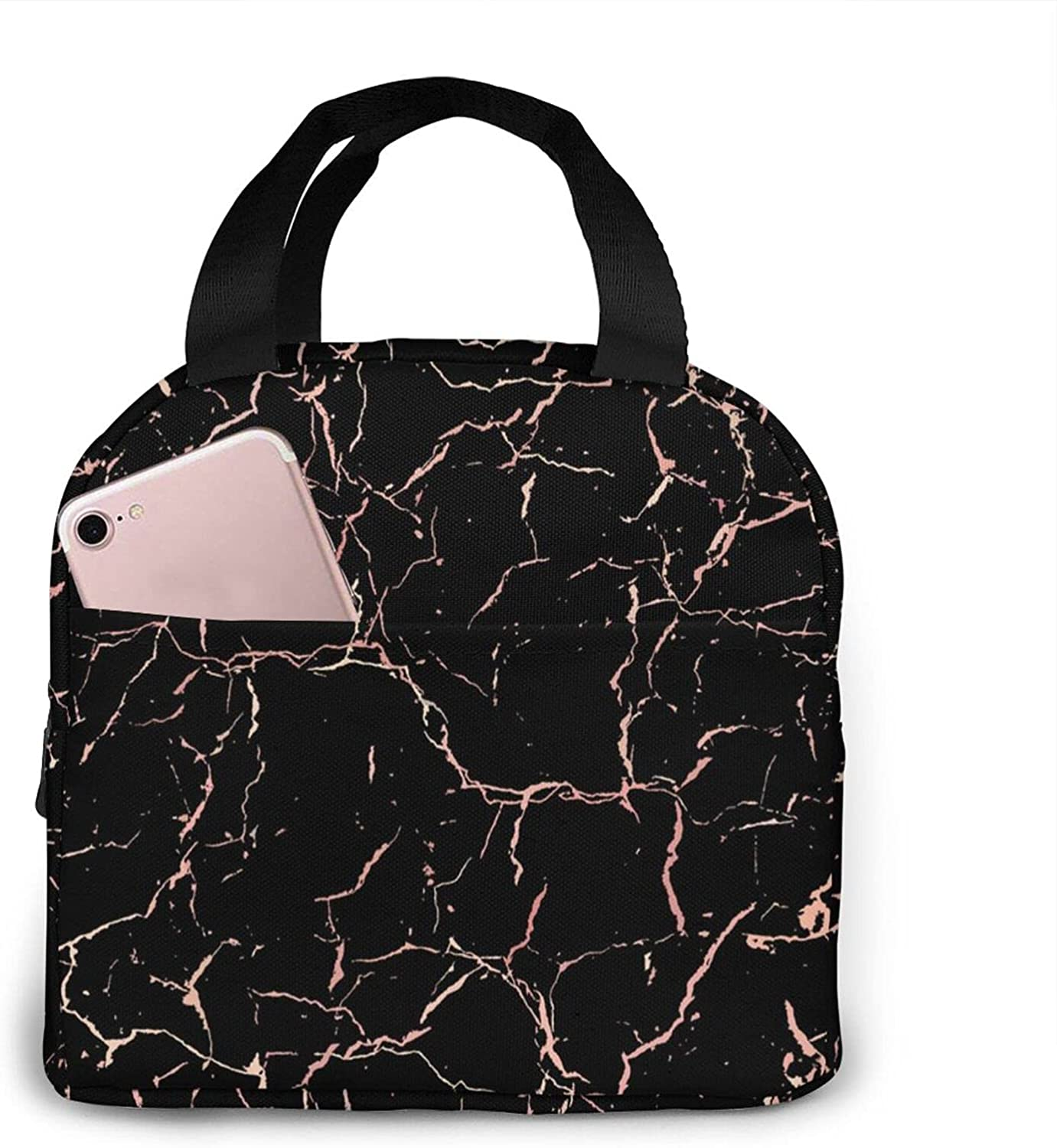 Lunch Bag,Rose Gold Black Marble Insulated Reusable Lunch Box,Women Men Boys Girls Cooler Lunch Tote Bag Cute Leakproof Lunch Box Container Picnic