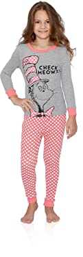 Dr. Seuss Girls Cat in The Hat Check Meowt Pajama Set