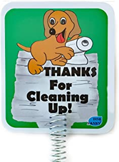 IMPROVED - Dog Poop Sign for Yard, Dog Poop Signs are TWO sides & METAL STAKE, made with Stronger Materials   Tell neighbors THANKS FOR CLEANING UP   Keeps Dogs & Pets From Pooping or Peeing On your L