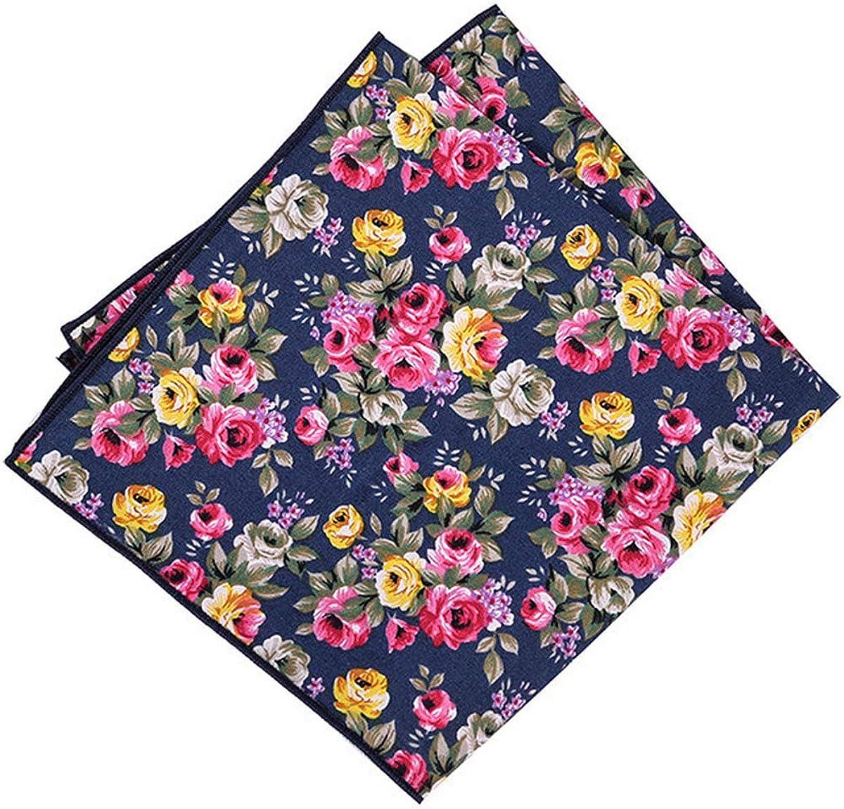 Men's 100% Cotton Retro Floral Handkerchiefs for Casual Business