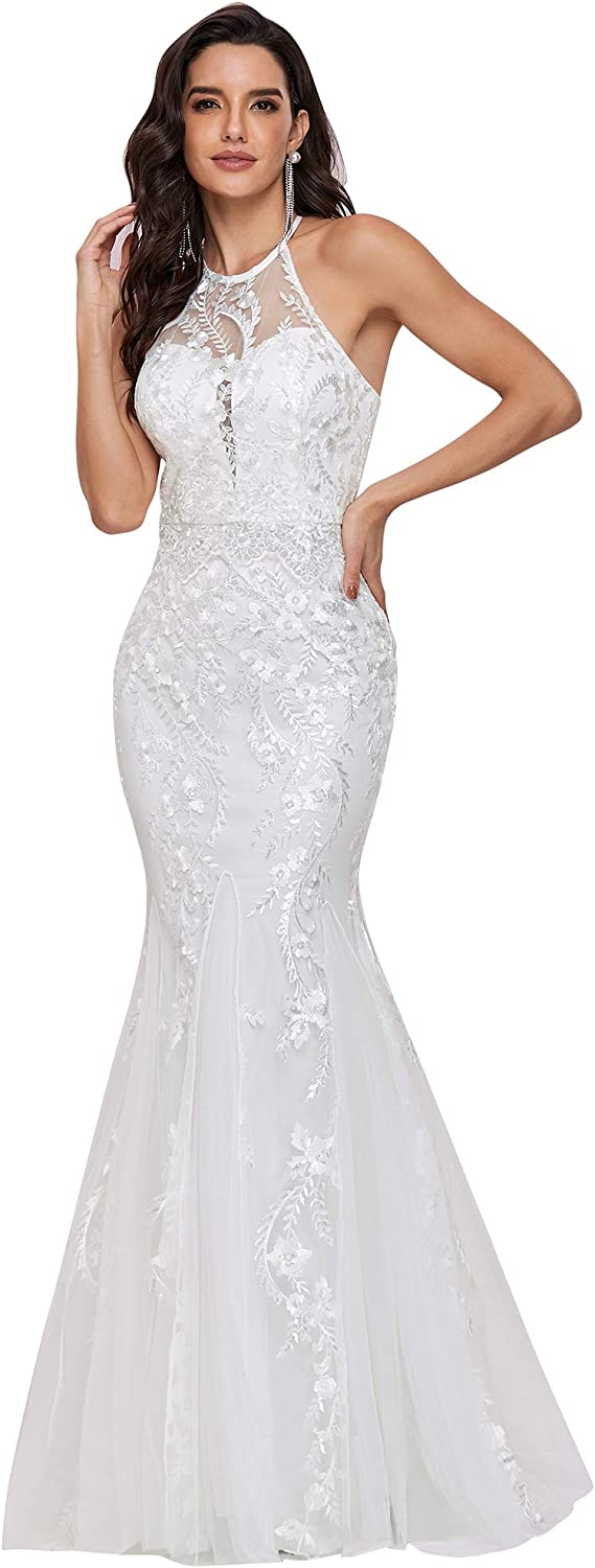 Ever-Pretty Womens Sleeveless Halter Lace Embroidered Mermaid Wedding Dress 0253