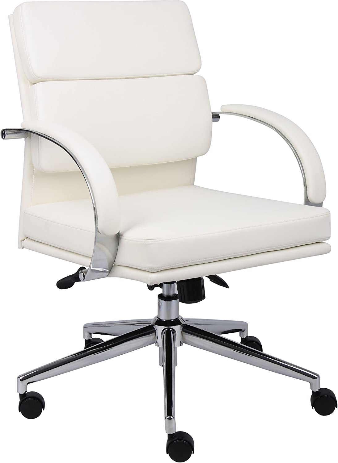 Boss Office Products B9406-WT Boss Caressoftplus Executive Series Chair, 250 lb, White Chrome