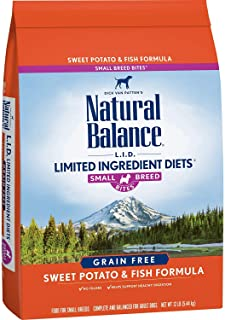 Natural Balance L.I.D. Limited Ingredient Diets Small Breed Bites Dry Dog Food, Sweet Potato & Fish Formula, 12 Pounds (Di...