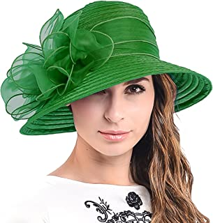 HISSHE Ascot Kentucky Derby Bowler Church Cloche Hat Bowknot Organza Bridal Dress Cap S051