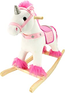 Animal Adventure | Real Wood Ride-On Plush Rocker | White and Pink Unicorn | Perfect for Ages 3+ (Renewed)