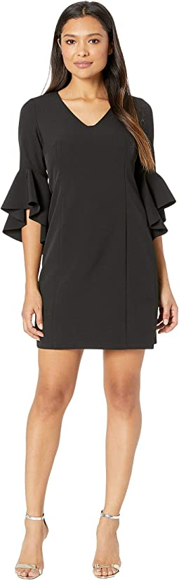 Ruffle Sleeve Crepe Dress with Tie Back