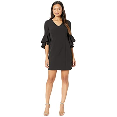 Laundry by Shelli Segal Ruffle Sleeve Crepe Dress with Tie Back (Black) Women