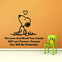 Snoopy Wall Decals Decal Charlie Brown Cartoon Character Look UP Love Heart Quotes Quote Vinyl Art Stickers for Toddler, Baby, Kids Rooms bedrooms Decor Decoration for Nursery Size 20x20 inch
