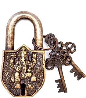 Chritmas Sale Door Lock Vintage Brass Padlock/Lock with Key Sculpted in Brass Metal