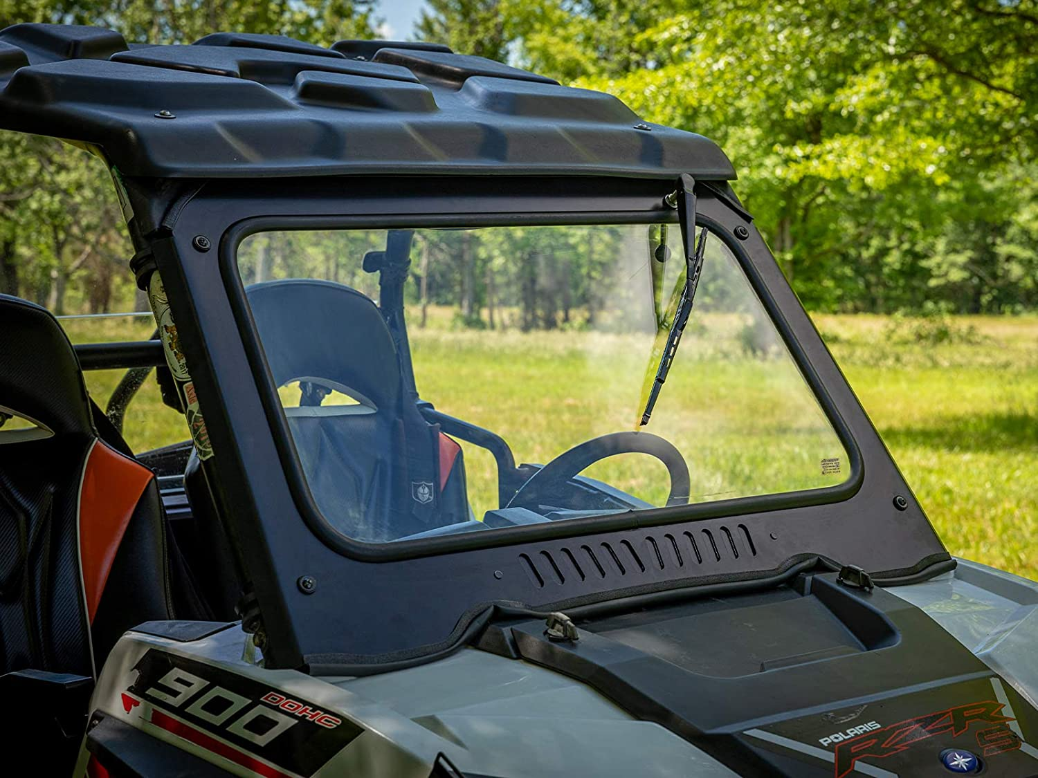 RZR XP4 1000 Aluminum Frame with DOT Approved Laminated Safety Glass SuperATV Vented Glass Front Windshield for 2019 Includes Manual Wiper! RZR XP 1000//2019