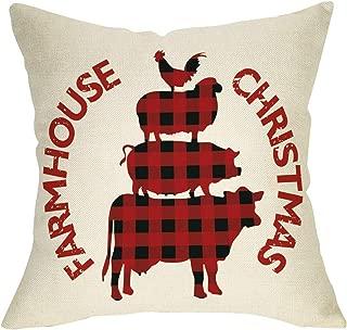 Softxpp Farmhouse Christmas Throw Pillow Cover, Xmas Animal Sign Decorative Cushion Case Buffalo Check Red Black Plaid, Home Winter Holiday Square Pillowcase Decor for Sofa Couch 18 x 18 Inch Linen