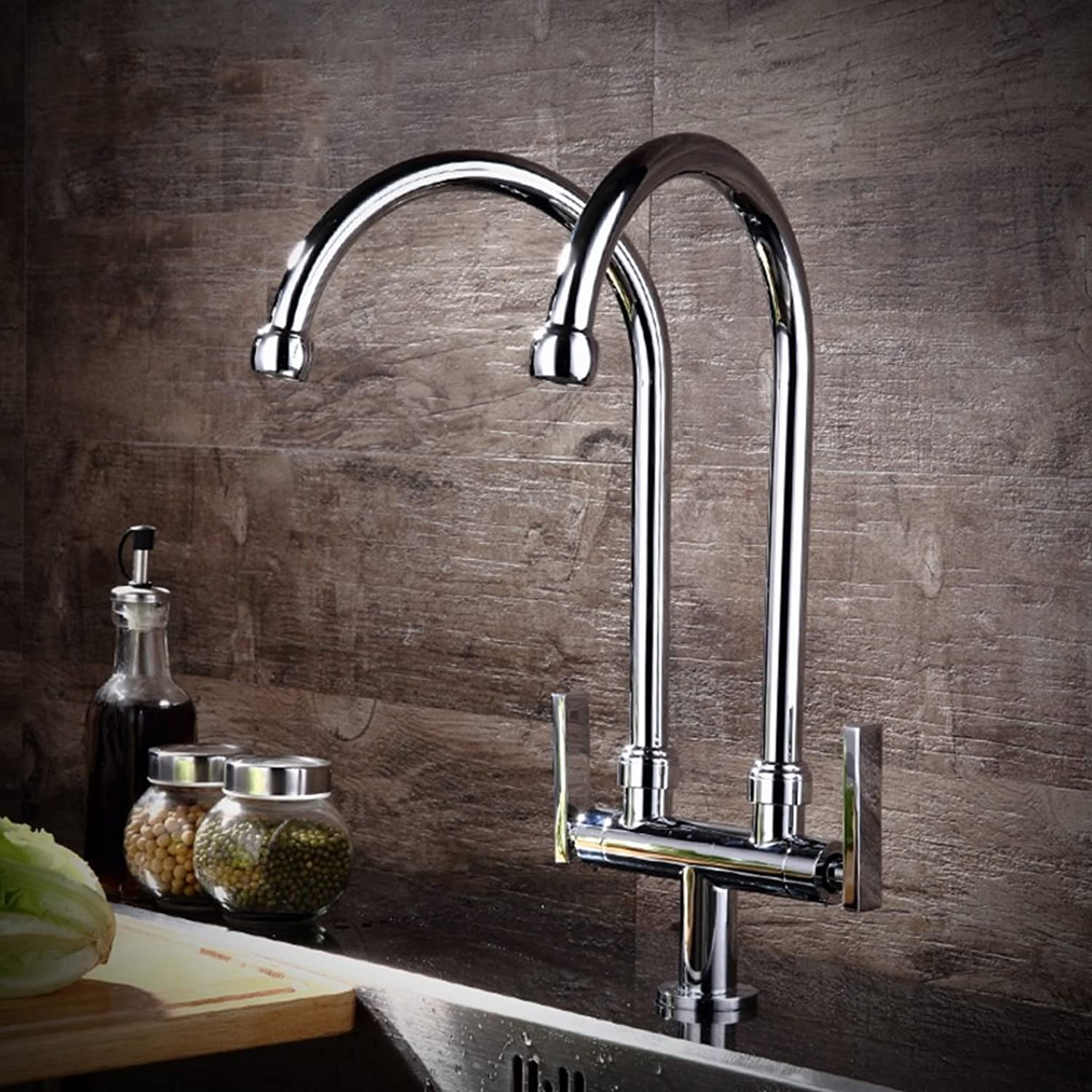 FJH Modern Minimalist Pure Copper Kitchen Faucet Cold Type Double Pipe Faucet Wash Basin Sink Can Be redated Faucet (Size   A)