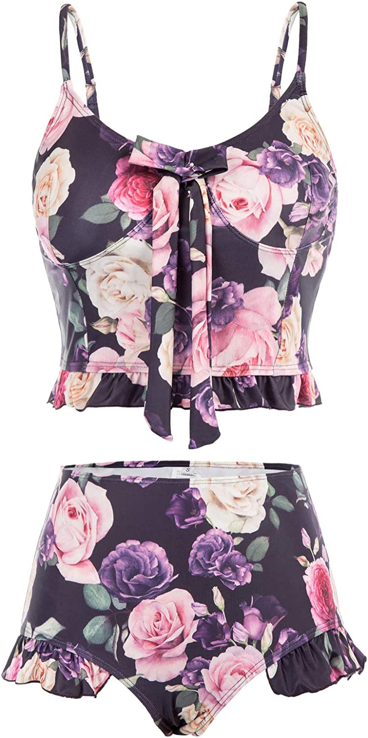 Women's Floral Tankini Swimsuits Knot Ruffled Top Two Piece Bathing Suits