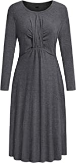 II ININ Womens Casual Long Sleeve Pleated Round Neck Solid Swing Dress with Pockets