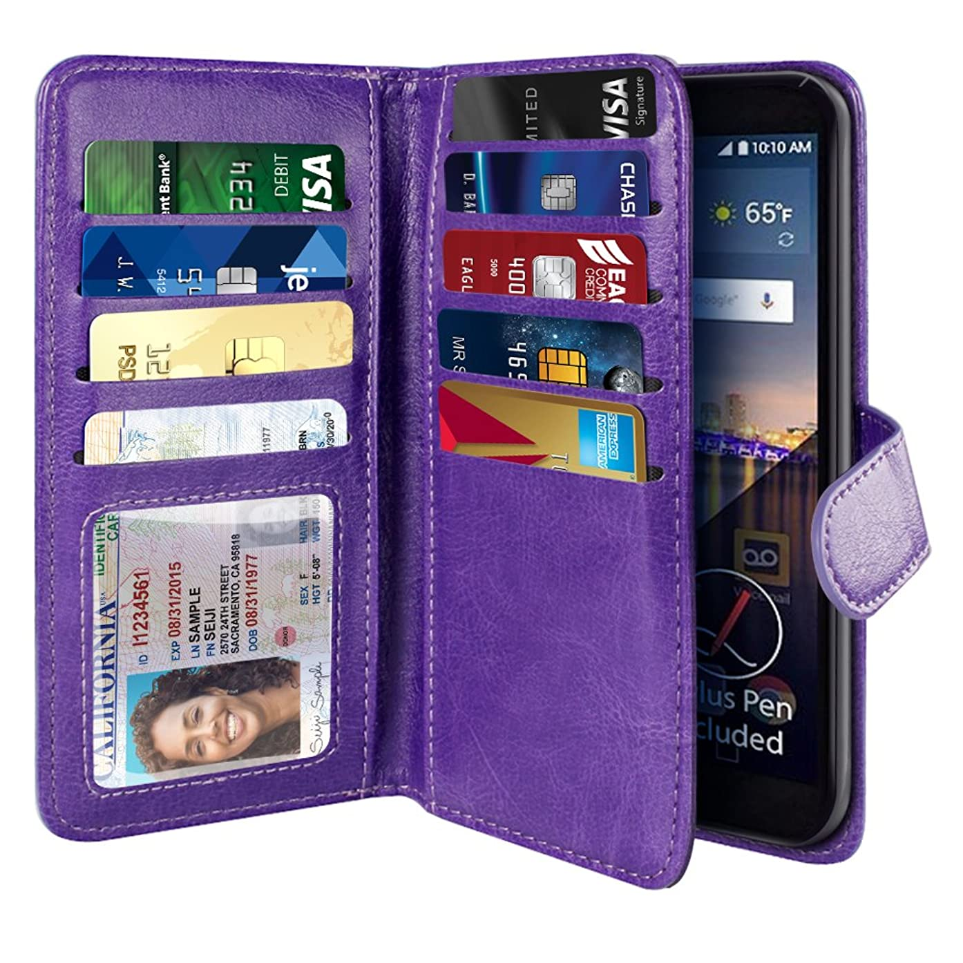 NEXTKIN LG Stylo 3 Stylus 3 Case, Leather Dual Wallet Folio TPU Cover, 2 Large Pockets Double flap Privacy, Multi Card Slots Snap Button Strap For LG Stylo 3 Stylus 3 LS777/Stylo 3 Plus - Purple