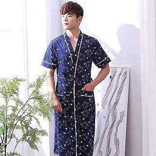 男性バスローブコットンバスルーム寝室ブルー起毛パジャマ半袖ナイトウェアガウンL-XXXXLコットンパジャマ