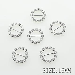 50pcs 16mm Silver Round Shaped Rhinestone Buckle Slider for Wedding Invitation Letter Christmas Buckles