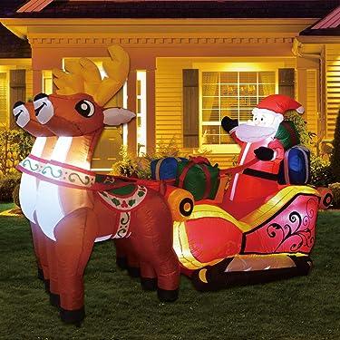 GOOSH - Juego de luces LED para decoración al aire libre con diseño de renos de Papá Noel (7 pies)